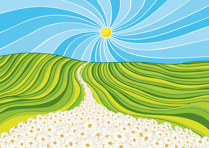 Download Street flowers stock vector. Illustration of road, daisies - 22829780
