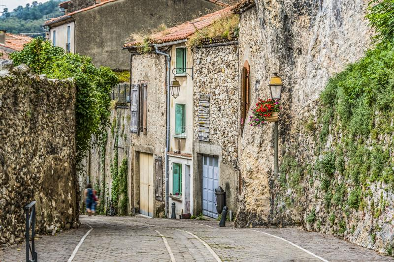 Street of the foix village. ariege france. Cobbled street of villa Foix village near the navarre pyrenees. ariege france stock images