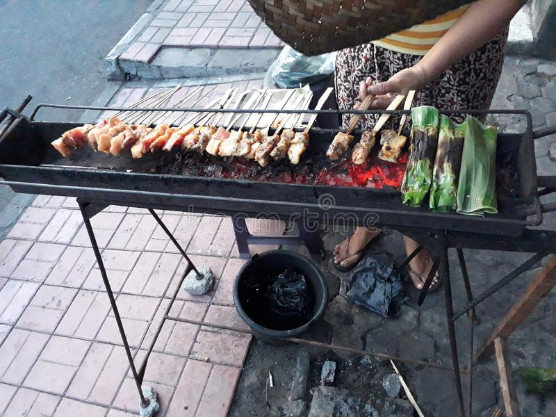 Street Food in Bali. Street food,sate lilit and pepes ikan in Bali,Traditional food southeast asia royalty free stock image