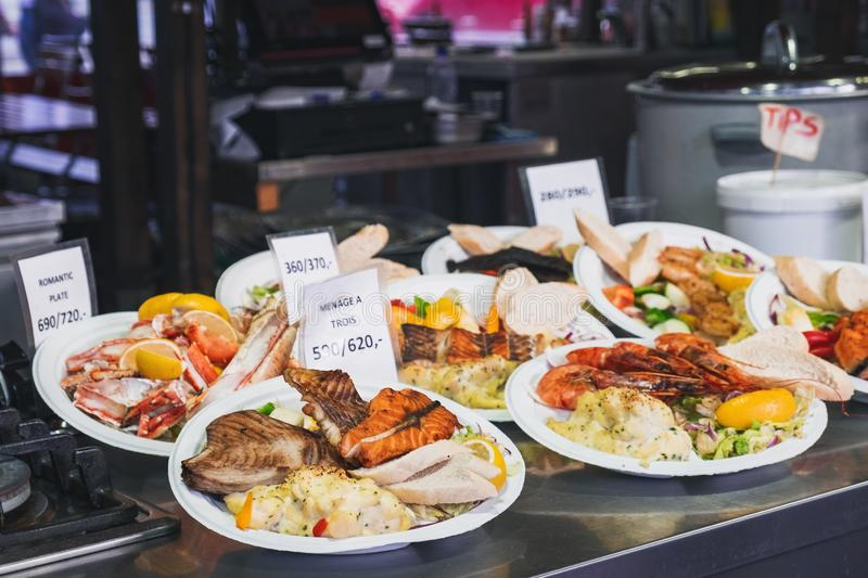 Street Food at Bergen Fish Market, Norway royalty free stock images