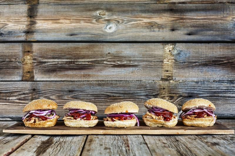 Street food, burgers, Party set, food, hamburger, meat, sandwich, american, beef, bun, fast, Rustic style. Homemade fast food. cop. Street food, Party set of royalty free stock photography