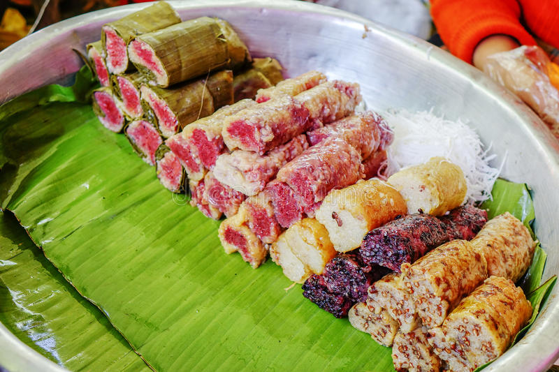 Street food in Burmese market, Myanmar. Burmese sweet rice cakes in Burmese market, Myanmar. Myanmar is one of the mysterious country in South East Asia and royalty free stock photos