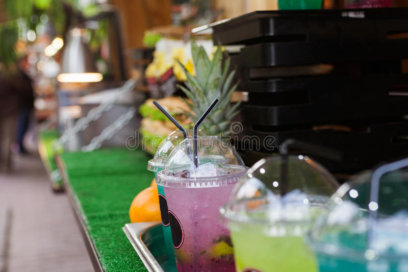 Street food. Colorful cold drinks stock images