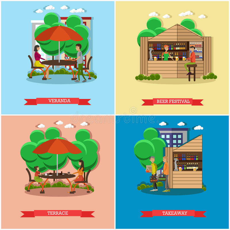 Street food concept vector posters. People sell from stalls. Restaurant summer terrace under umbrella royalty free illustration