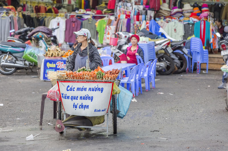 Street food, Da Lat Market, Vietnam royalty free stock photography