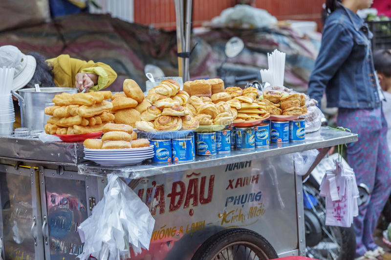 Street food, Da Lat Market, Vietnam stock photo