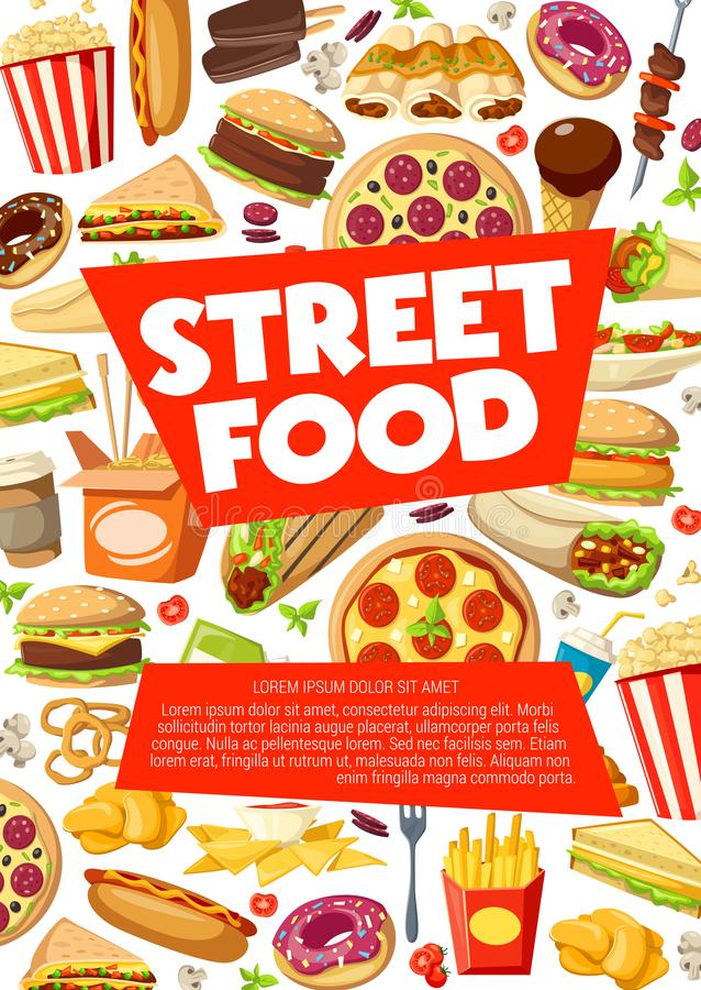 Street food, fastfood snacks and meals. Street food, fastfood sandwiches, snacks and meals. Vector pizza, cheeseburger or hot dog, Mexican burrito with tacos stock illustration