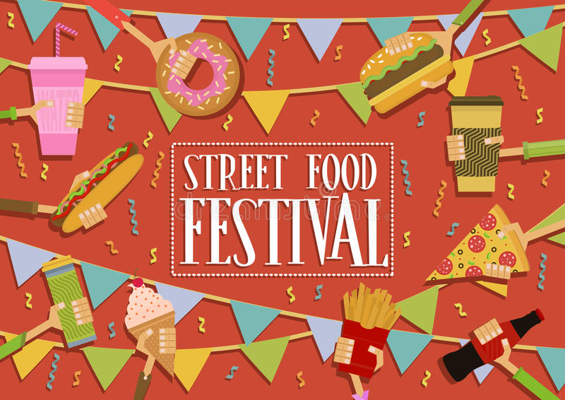 Street Food Festival banner royalty free stock image