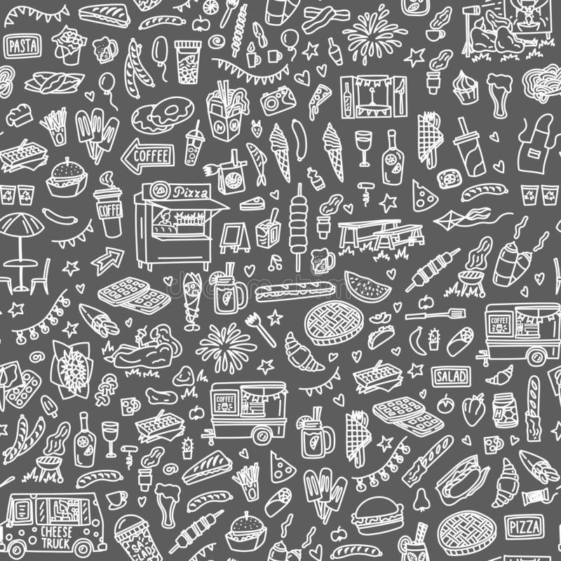 Street food festival hand drawn doodles seamless pattern. Monochrome background stock illustration
