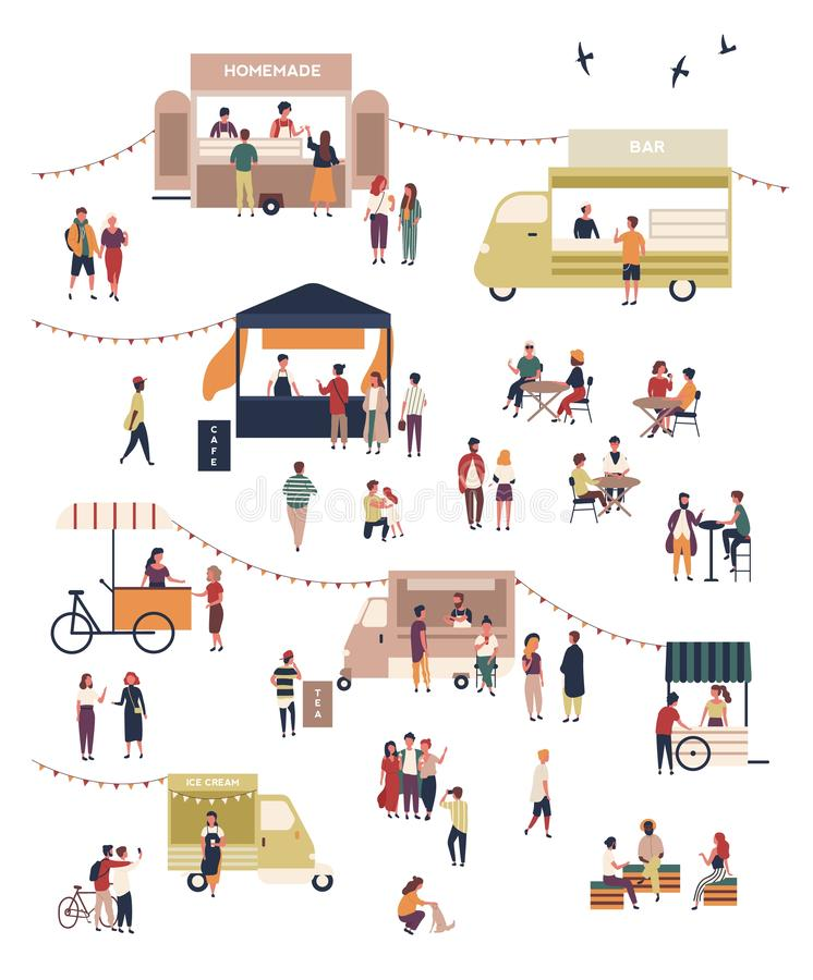 Street food festival with people walking among vans or stalls, buying and eating homemade meals at outdoor cafes or royalty free illustration