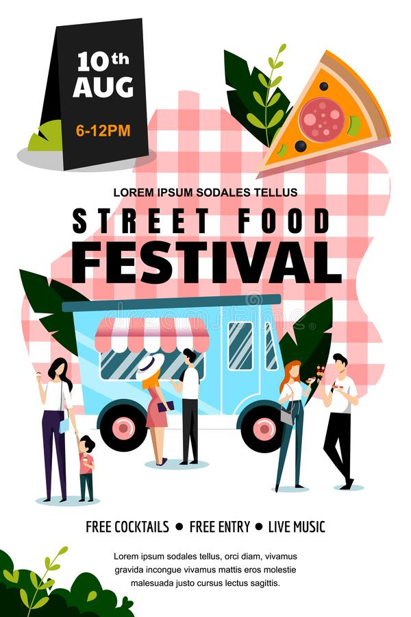 Street food festival poster or banner design template. Summer weekend and events outdoor leisure. Vector illustration. Street food festival poster, banner design vector illustration