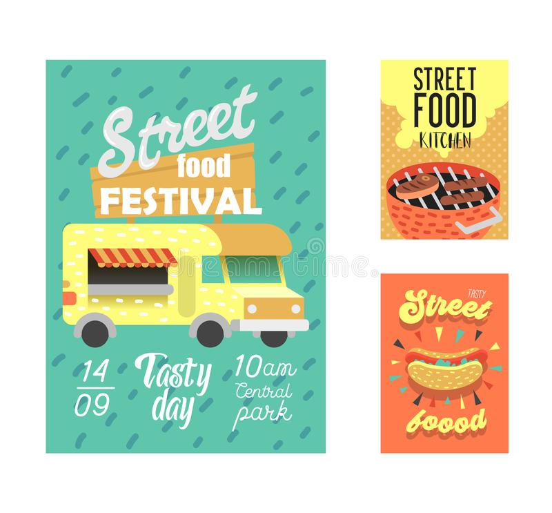 Street Food Festival Poster. Fastfood Outdoor Event Invitation, Placard, Brochure, Banner Template with Van and BBQ vector illustration