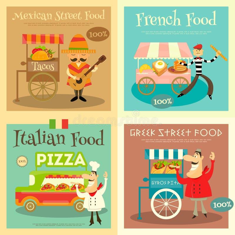 street food festival posters set stock vector illustration of gyros flat 69511858. Black Bedroom Furniture Sets. Home Design Ideas