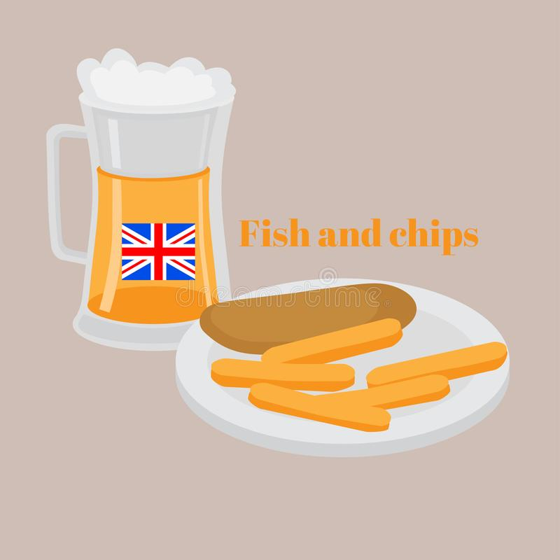 Street food Fish and chips. Traditional british hot dish fried fish, potato chips. Beer pub in London.  stock illustration