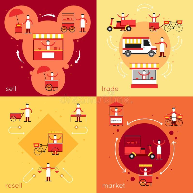 Street food flat set stock illustration