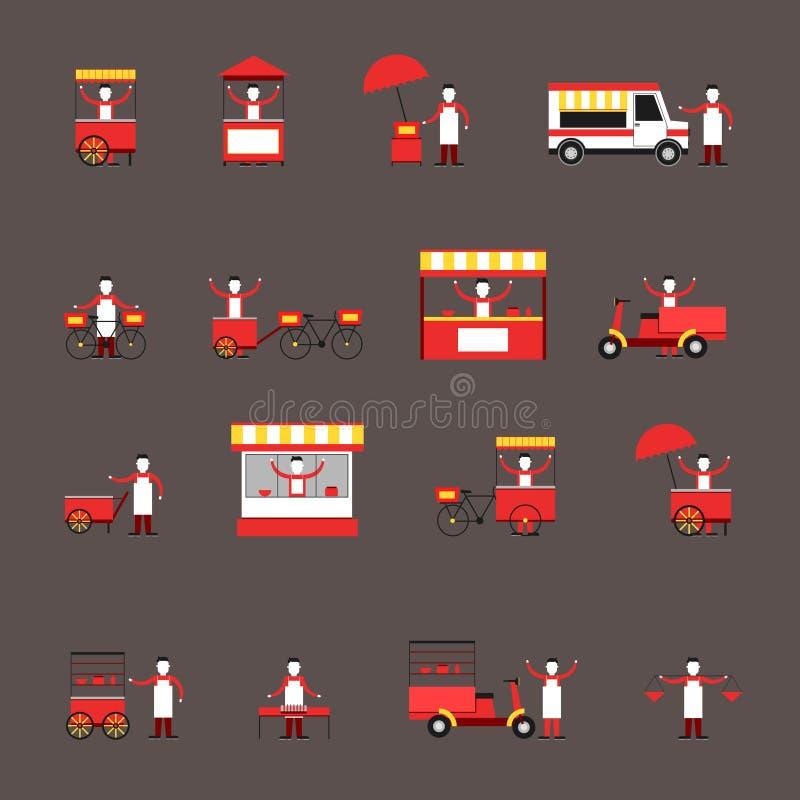 Street food icon flat vector illustration