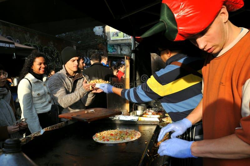 Ethnic Italian street food in Brick lane at a London Market royalty free stock photos