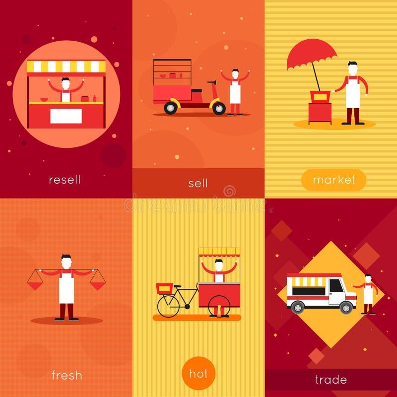 Street food mini poster set vector illustration