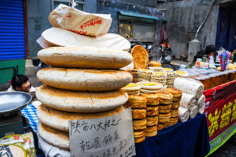 Street food at Muslim Street in Xian royalty free stock photography