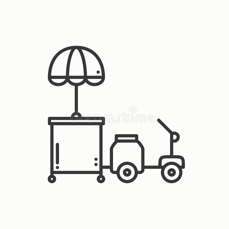 Street food retail thin line icon. Tricycle trade cart. Fast food trolley motorcycle, motorbike. Wheel shop, mobile stock illustration