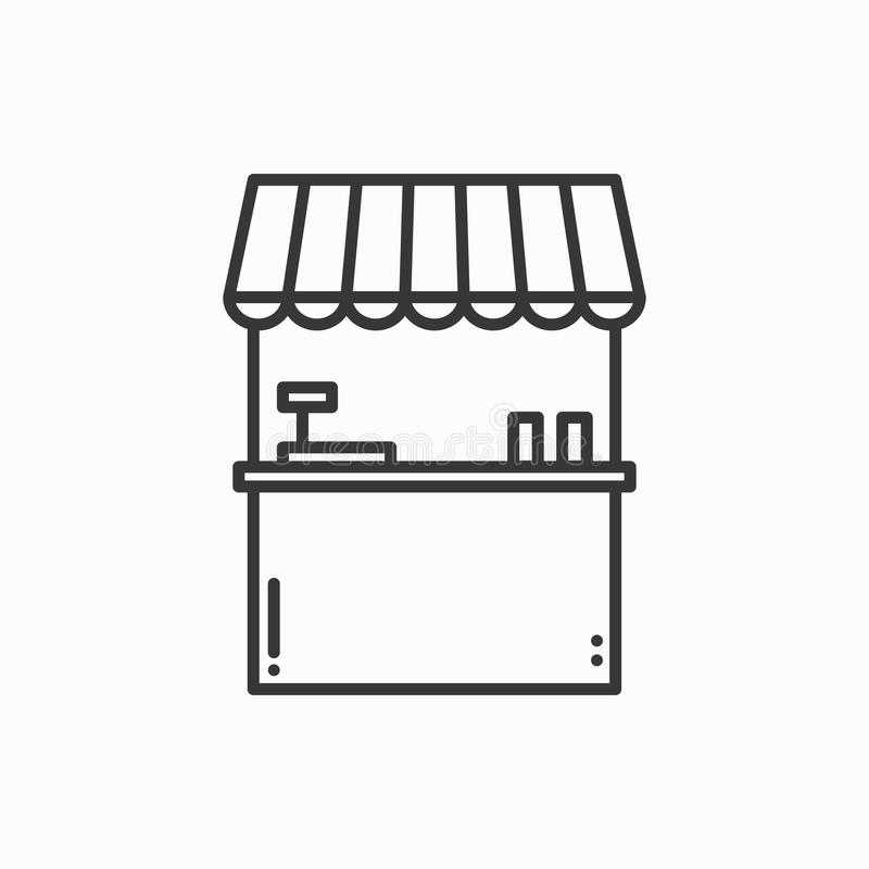 Street food retail thin line icons set. Food kiosk, market stall, mobile cafe, shop, trade cart. Vector style linear stock illustration