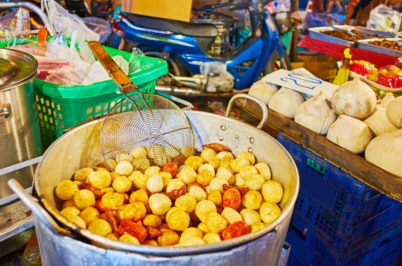 Deep fried balls, Warorot Night Market, Chiang Mai, Thailand stock image