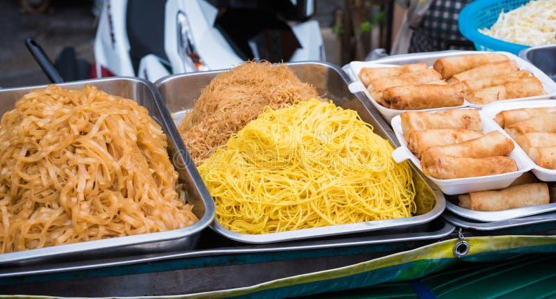 Street food thailand : pad Thai & Deep fried spring roll. Pad Thai & Deep fried spring roll stock image