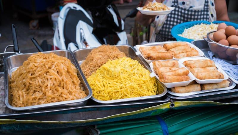 Street food thailand : pad Thai & Deep fried spring roll. Pad Thai & Deep fried spring roll royalty free stock photography