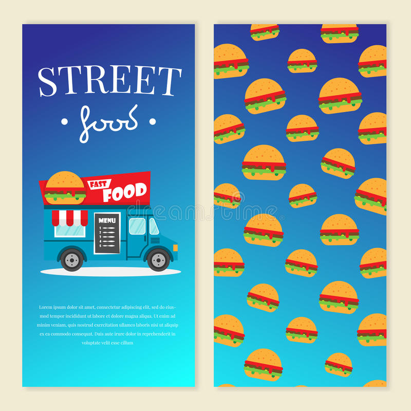 Street food truck vector illustration. Burger van delivery. Flat banner, flyer. Brochure design template vector with price and text stock illustration