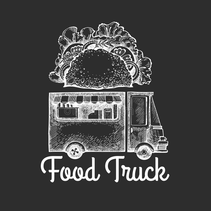 Street food van logo template. Hand drawn vector truck with fast food illustration on chalk board. Engraved style tacos truck stock illustration