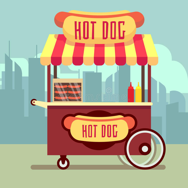 Street food vending cart with hot dogs vector illustration. Urban kiosk for sale hotdogs vector illustration
