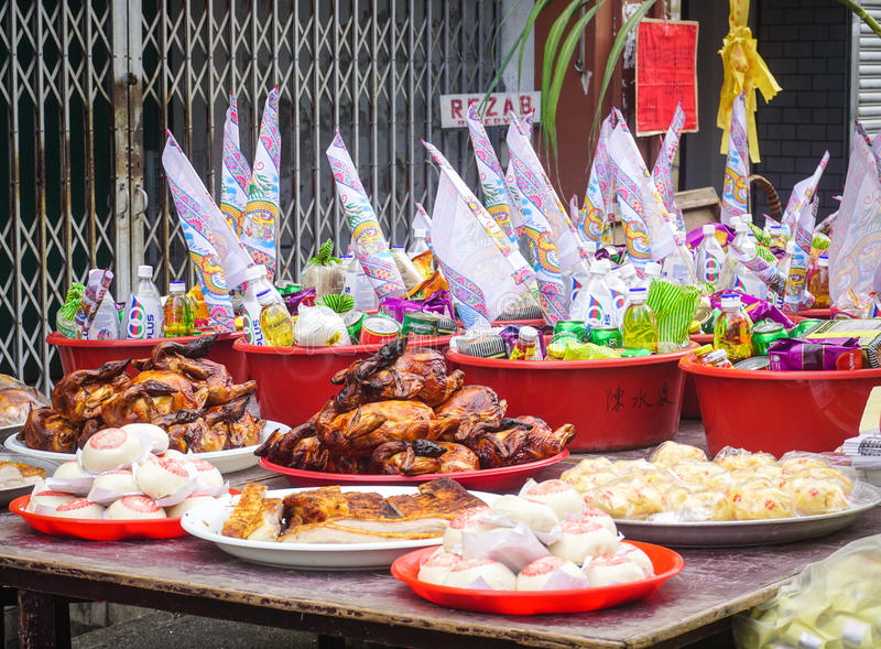 Street foods at Chinatown in Penang, Malaysia stock photo