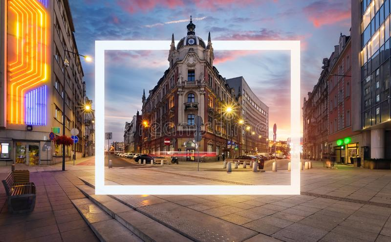 The street with frame in the old sity. Of Europe royalty free stock photography
