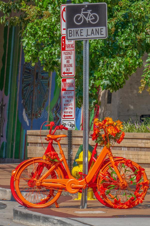 Street furniture in the form of ornamental bicycles stock photo