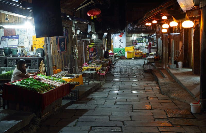 Street in Furong (Hibiscus) ancient village at night royalty free stock photos