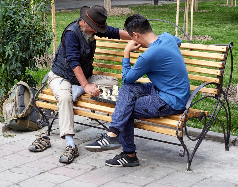 Street game of strangers chess stock images