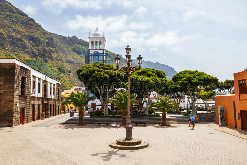 Street of Garachico Town on Tenerife Island, Canary, Spain royalty free stock image