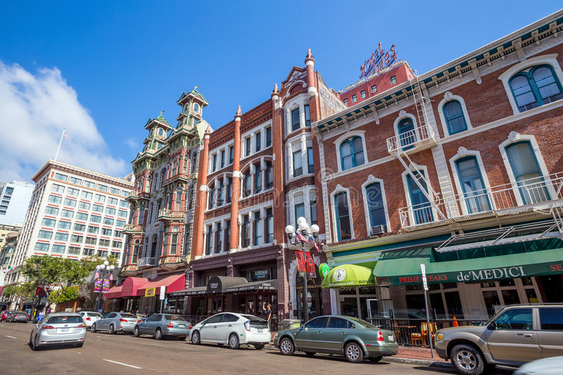 Street of The Gaslamp Quarter in San Diego stock images