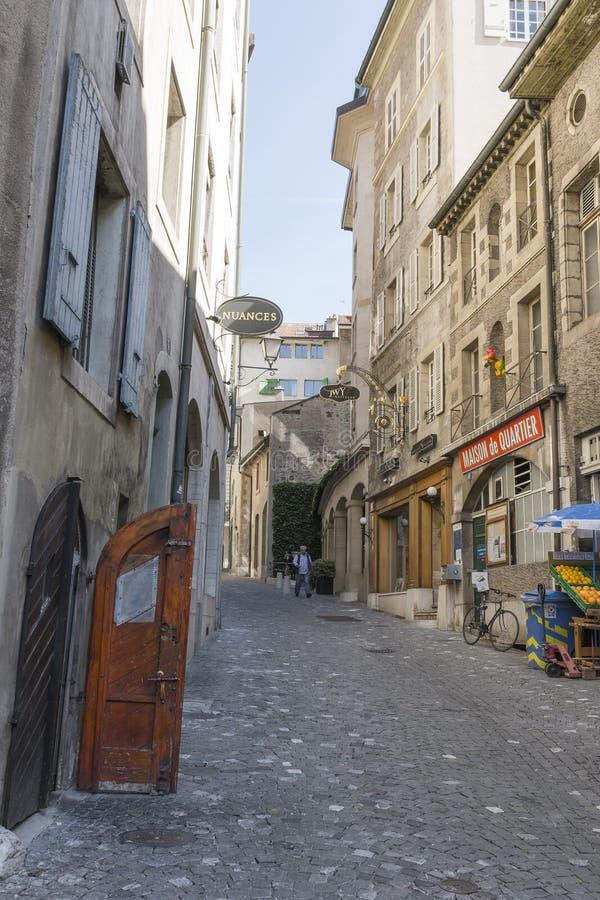Street in Geneva royalty free stock photos