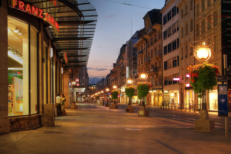 Street in Geneva, Switzerland stock photos