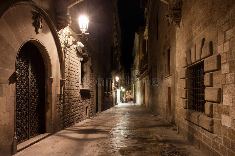 Street in Gothic Quarter of Barcelona at Night stock images