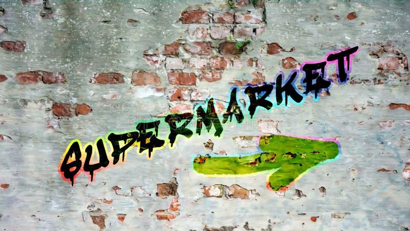 Street Graffiti to Supermarket. Street Graffiti the Direction Way to Supermarket stock illustration