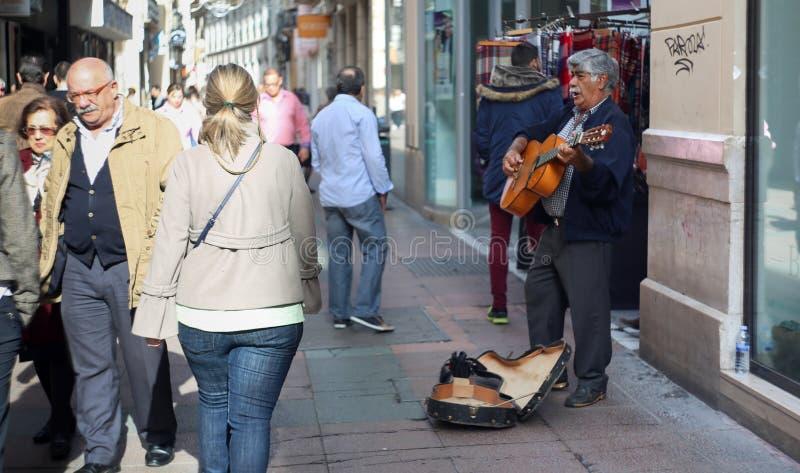 Street guitar player old town Malaga royalty free stock photos