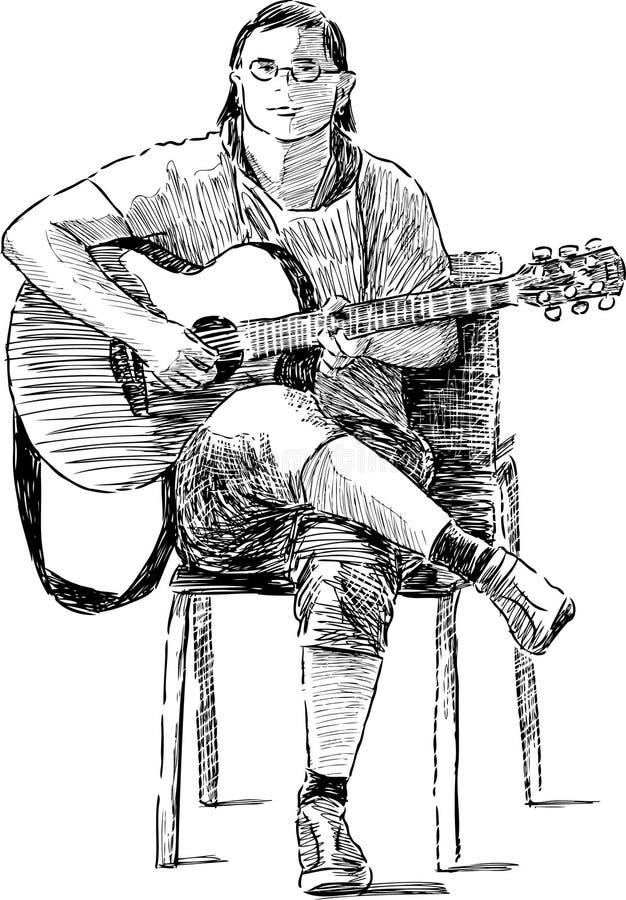Street guitarist vector illustration