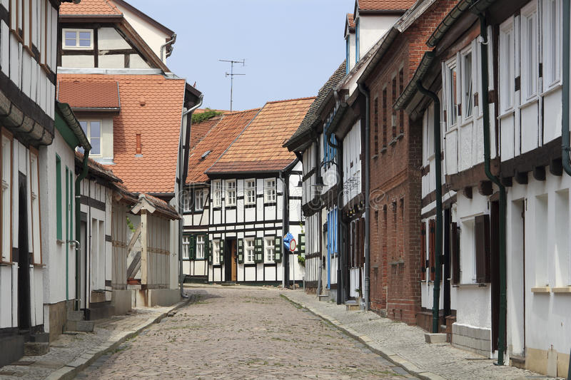 Download Street With Half-timbered Houses In Tangermuende Stock Photo - Image: 21094366