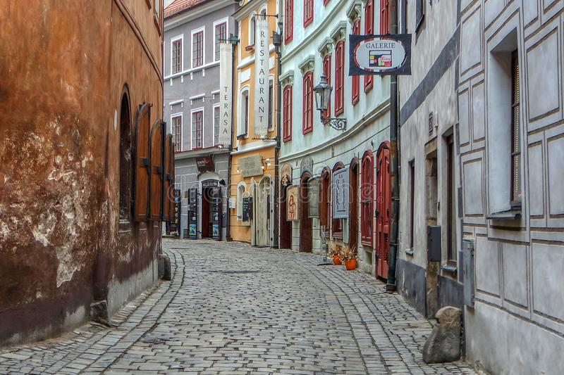 Street in the historic center of Cesky Krumlov, Czech Republic - November, 2018 royalty free stock photo