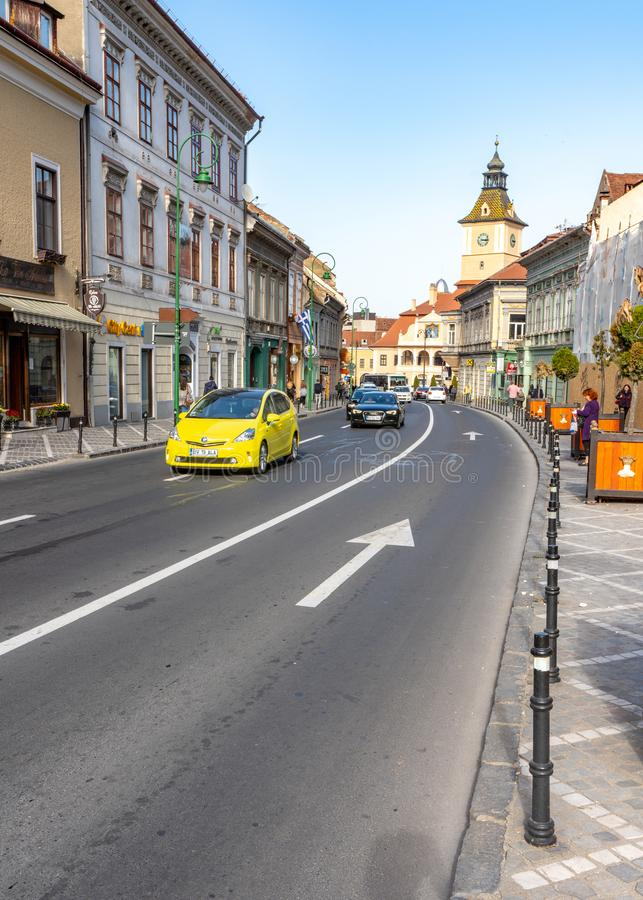 Street in the historic part of Brasov in Romania. One of the ten largest cities in Romania. Located in the heart of Romania, the city of Brasov is sometimes royalty free stock images