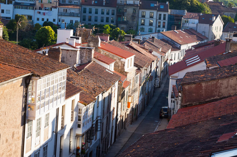 Street at historic part of Santiago de Compostela royalty free stock photo