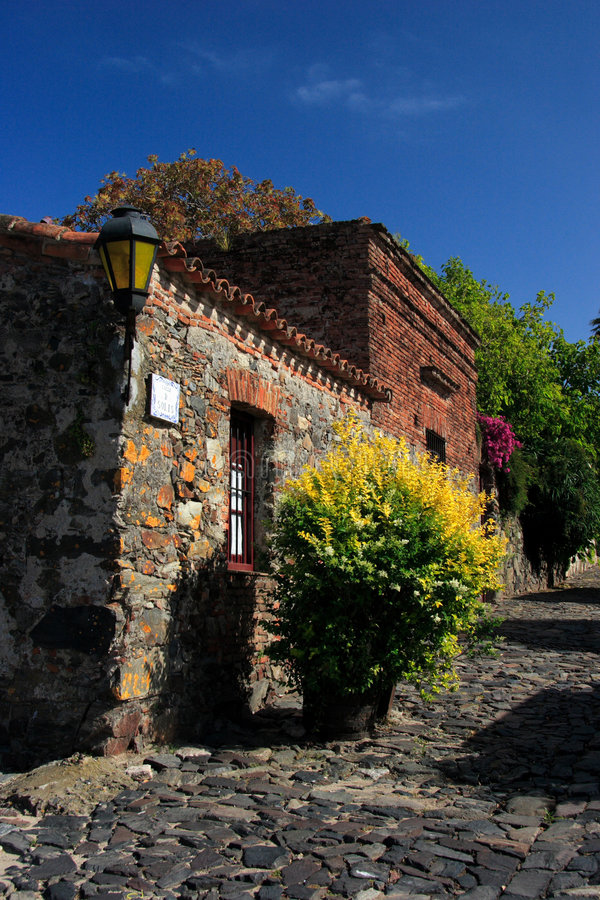 Street of Historic Quarter of the City of Colonia del Sacramento, Uruguay. Historic Quarter of the City of Colonia del Sacramento, Uruguay Founded by the stock image