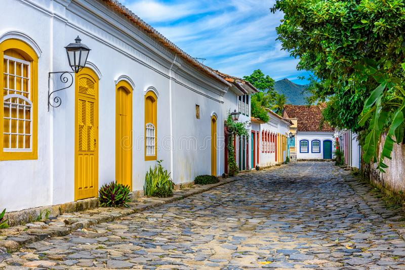 Street of historical center in Paraty, Rio de Janeiro, Brazil. Paraty is a preserved Portuguese colonial and Brazilian Imperial municipality stock image